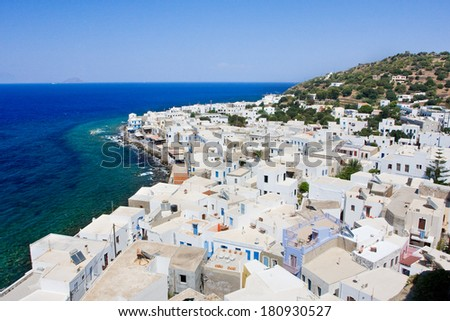 Mandraki town center with typical greek architecture - Nisyros island, Greece - stock photo