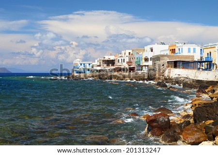 "Mandraki village at Nisyros island in Greece. The ""Venice of Nissiros"" area. - stock photo"