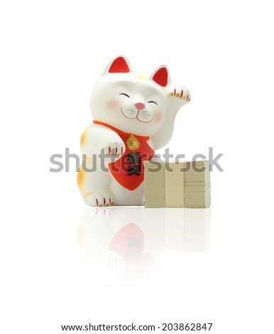 Maneki neko - Japanese Lucky Cat - stock photo
