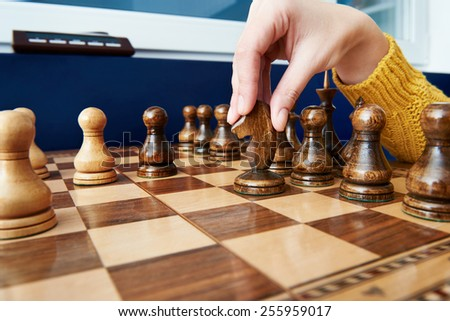 Maneuver the horse in chess game - stock photo