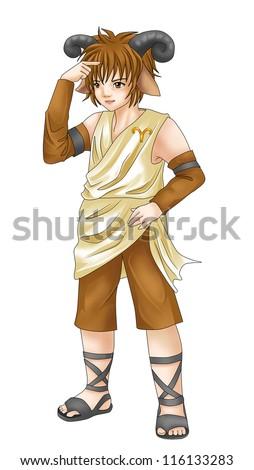 Manga style illustration of zodiac symbol, Aries - stock photo