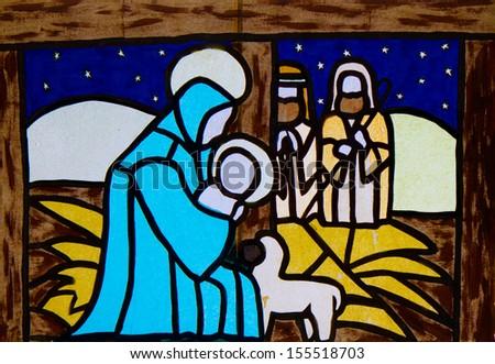 Manger nativity scene with the Virgin Mary - stock photo