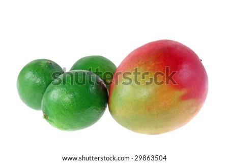 Mango and limes isolated on white background - stock photo