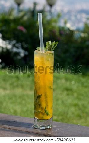 mango and passion fruit mojito - stock photo