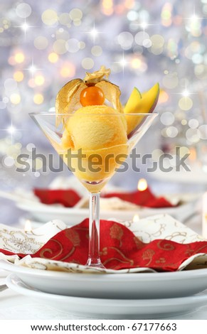Mango and pineapple sorbet or ice cream for Christmas - stock photo