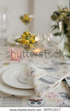 mango and smoked mussels appetizer - stock photo