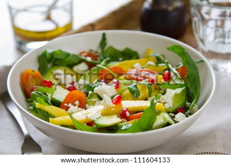 Mango,Avocado and Pomegranate salad - stock photo