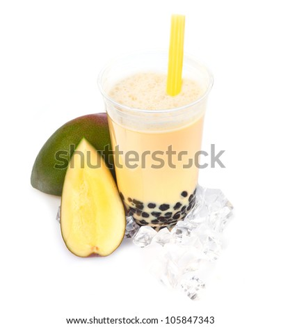 Mango Boba Bubble Tea with fruits and crushed ice. - stock photo