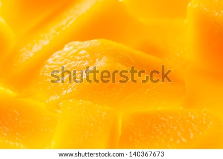 mango chunks macro closeup detail - stock photo