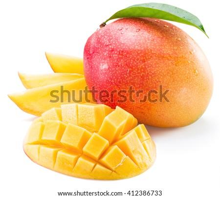 Mango fruit and mango slices on a white background.  - stock photo