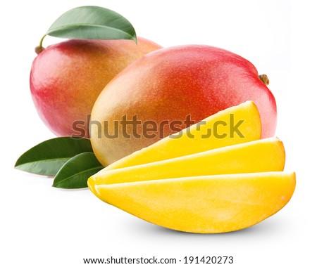mango fruit isolated on white  - stock photo