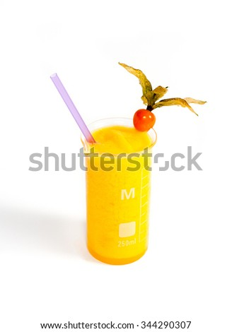 mango fruit smoothie decorated with phyalis , on withe background - stock photo