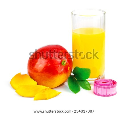 Mango juice in glass, mango fruit with centimeter and leaves isolated on white background - stock photo