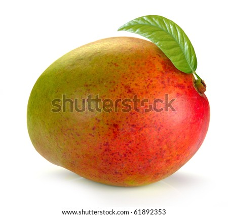 Mango with leaves on a white background - stock photo
