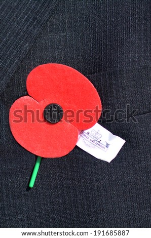MANGONUI, NEW ZEALAND - APRIL 25 2014:Close up of an ANZAC red poppy on a person during a National War Memorial Anzac Day in New Zealand. - stock photo