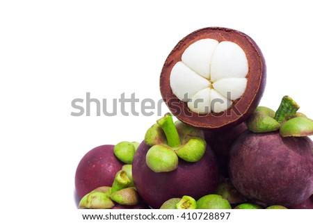 Mangosteen isolated on white background/tasty fruit trade  - stock photo