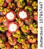 Mangosteen Thai fruit  , Garcinia mangostana L. - stock photo