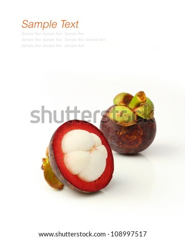 Mangosteen, the queen of tropical fruit over white - stock photo