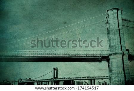 Manhattan and Brooklyn Bridge vintage photo - stock photo
