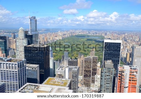 Manhattan and Central Park in New York ,USA - stock photo