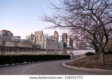 Manhattan and East river view from the Roosevelt Island, New York City, USA - stock photo
