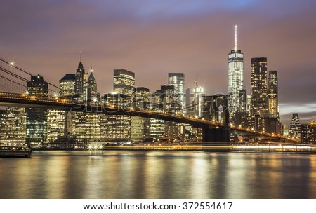 Manhattan at night - New York City - stock photo