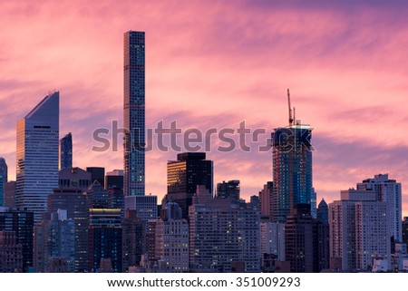 Manhattan at sunset, close-up image - stock photo
