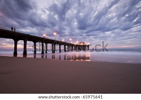 Manhattan Beach Pier Cloudy Sunset - stock photo