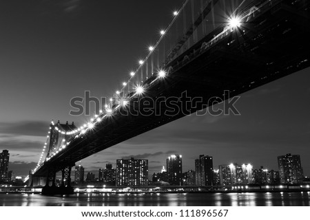 Manhattan Bridge and skyline At Night, New York City - stock photo