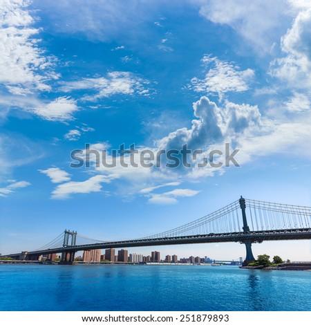 Manhattan Bridge and skyline from Brooklyn New York city US - stock photo