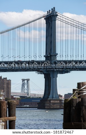 Manhattan bridge and Williamsburg bridge behind in New York City  - stock photo