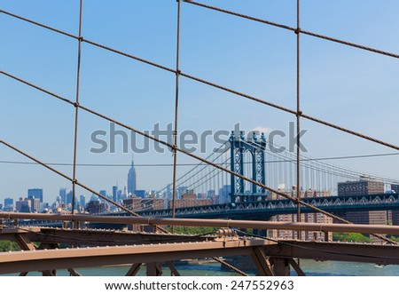 Manhattan Bridge from Brooklyn New York City US - stock photo