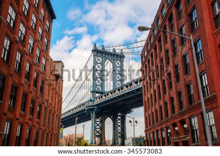 Manhattan Bridge seen from Dumbo, Brooklyn, New York City - stock photo