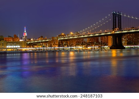 Manhattan Bridge sunset New York NY NYC skyline USA - stock photo