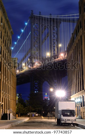 Manhattan Bridge viewed from the Brooklyn side in New York City. - stock photo
