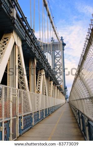 Manhattan Bridge Walkway in New York City. - stock photo
