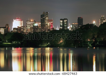 Manhattan buildings viewed from Central Park in New York City. - stock photo