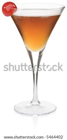 Manhattan Cocktail - isolated on white - stock photo