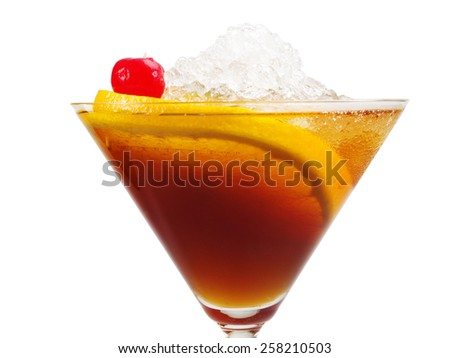 Manhattan cocktail isolated on white background. It's made from 3/4 oz sweet vermouth,2 1/2 oz bourbon whiskey,1 dash Angostura bitters,1 maraschino cherry - stock photo