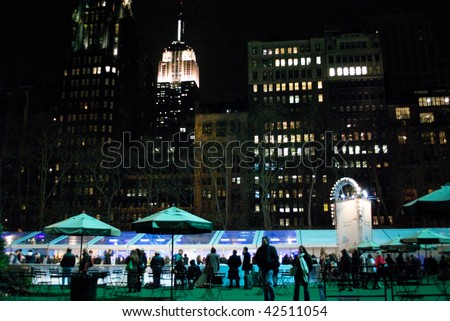 MANHATTAN - DECEMBER 4: A Nighttime view of Bryant Park after the Christmas Tree lighting on Dec 4, 2009 in New York City. - stock photo