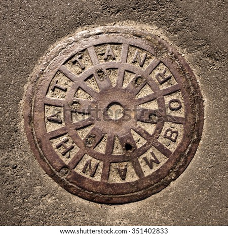 Manhattan manhole - stock photo