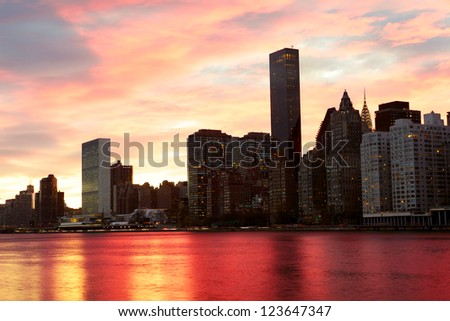 Manhattan midtown architecture, sunset time, New York City - stock photo