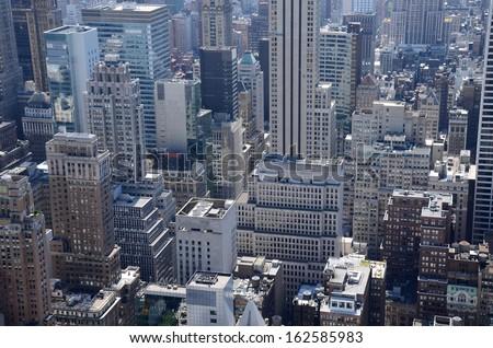 Manhattan Modern Architecture Aerial View in New York , USA - stock photo