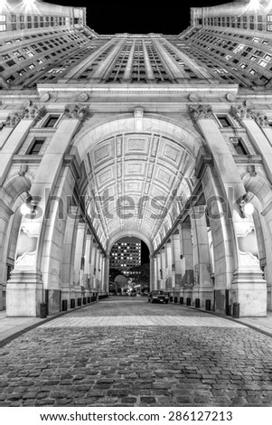 Manhattan Municipal building. Manhattan Municipal building is one of the largest governmental buildings in the world - vertical panorama with fisheye effect. - stock photo