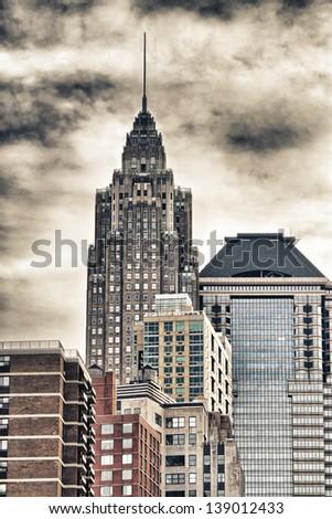 Manhattan, New York City. Aerial view of city skyscrapers. - stock photo