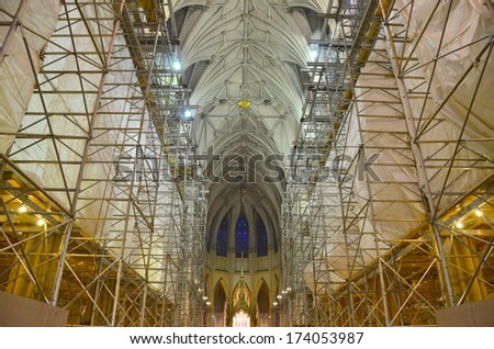 MANHATTAN, NY- SEPTEMBER 21: Saint Patrick's Cathedral in New York, USA on September 21, 2013. One of the 5 boroughs of New York City, the smallest but also the most populated. - stock photo