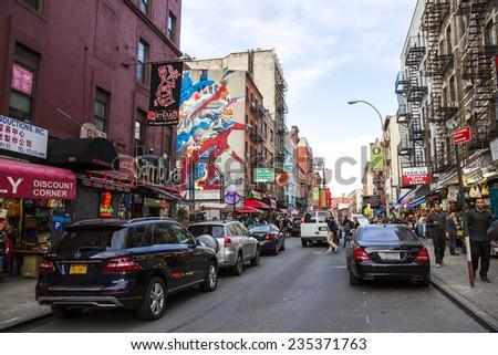 Manhattan, NYC - November 4: View of Chinatown district in Manhattan, USA on November 4, 2014. - stock photo