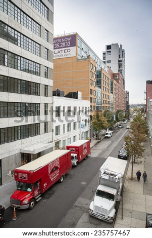 Manhattan, NYC - November 5: View of Lower West Side in Manhattan, NYC on November 5, 2014. - stock photo