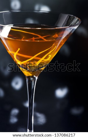 Manhattan One of the best, finest and oldest cocktails. It's a really classic cocktail. The Manhattan was the first cocktail that ever used vermouth. - stock photo