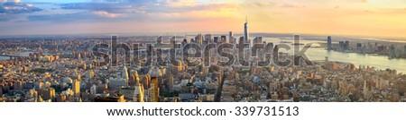 Manhattan panorama at sunset aerial view, New York, United States - stock photo